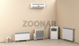 Electric heaters in the room