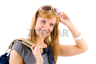 Young woman in marine outfit fashion portrait