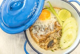 Fried rice with mackerel