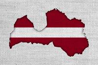 Karte von Lettland auf Textur - Textured map of Latvia