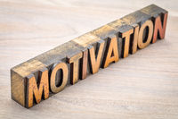 motivation word abstract in vintage wood type