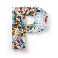 Letter P. Set of alphabet of medicine pills, capsules, tablets and blisters isolated on white.
