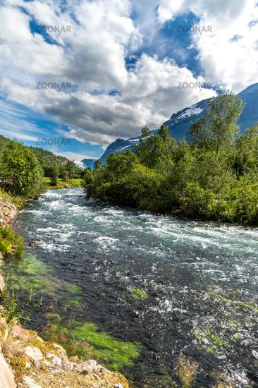 Beautiful glacier river in Norway