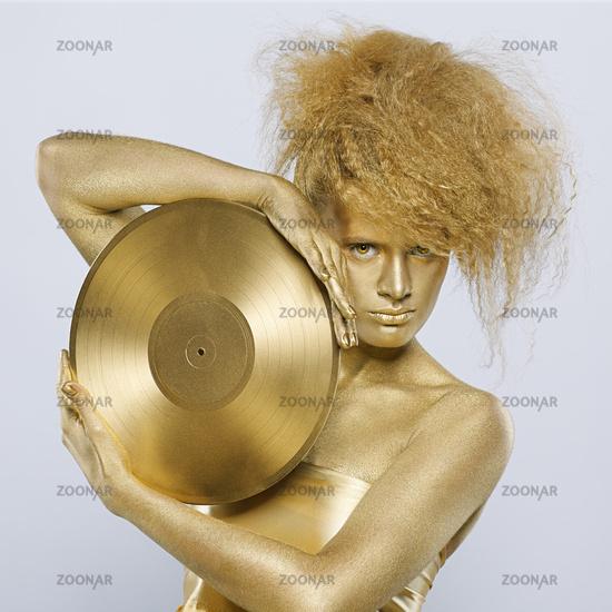 golden girl with vinyl