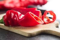 Sliced red pepper.