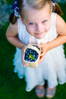 Little girl holding a basket of blueberries - shallow depth of field - top view