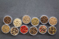 set of colorful peppercorn samples