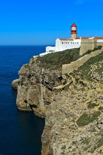Leuchtturm am Kap Sankt Vinzenz, Kap St. Vicente, Cabo de São Vicente, Sagres, Algarve, Portugal