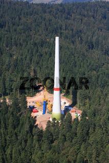 Aufbau einer Windenergieanlage im Südschwarzwald bei Gersbach