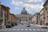 Via della Conciliazione, street, St. Peter´s Basilica, Rome, Italy, Europe