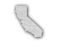 Karte von Kalifornien auf altem Leinen - Map of California on old linen
