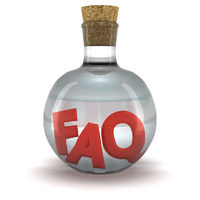 Red word FAQ in the bottle with transparent liquid