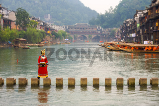 Tourist Old Stepping Stone Bridge Fenghuang China