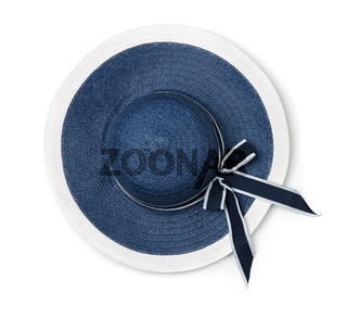 Top view of  blue summer straw hat