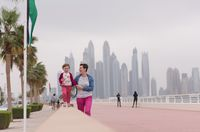 mother and cute little girl on the promenade
