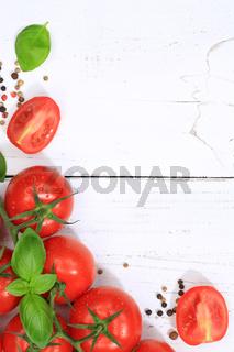 Tomaten Tomate rot Gemüse hochkant Textfreiraum von oben