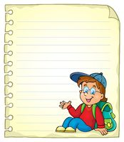 Notebook page with schoolboy - picture illustration.