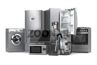 Home appliances. Set of household kitchen technics isolated on white background. Fridge, gas cooker, microwave oven, washing machine and vacuum cleaner. 3d