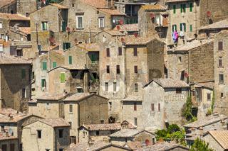 Sorano, Stadt des Mittelalters, in der Provinz Grosseto in der Toskana, Italien