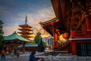 Hondo and pagoda at sunset in Senso-ji temple, Tokyo, Japan