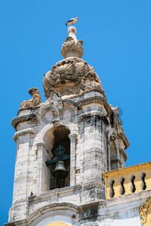 stork on tower of Church Igreja do Carmo in Faro