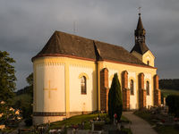 Old, historic church and graveyard in a small town in the Czech