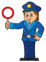 Policeman holds stop sign theme 1