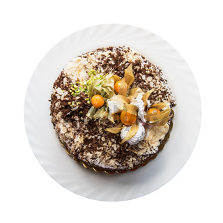 cake with walnuts and physalis