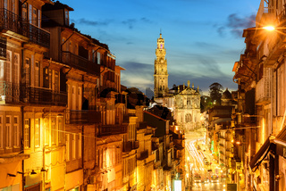 Panorama of Porto with Dos Clerigos cathedral at night, Portugal