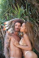 Sensual couple on tropical island