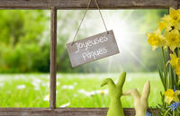Window, Green Meadow, Joyeuses Paques Means Happy Easter