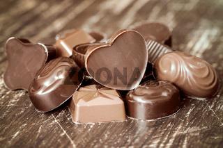 Pile of chocolate pralines