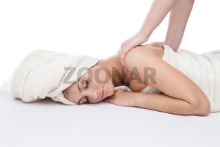Beautiful girl getting back massage