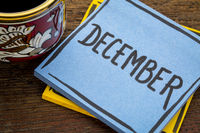 December, reminder note with coffee