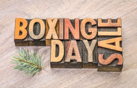 boxing day sale sign in wood type