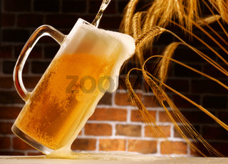 beer in mug, rustic setting from small cellar
