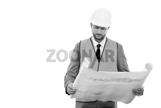 Professional male construction businessman with his blueprints