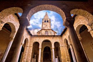 Euphrasian Basilica in Porec arcades and tower view