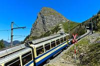 Train the Montreux – Glion – Les Rochers-de-Naye cog railway at peak Dent de Jaman,Montreux