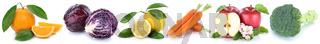 Obst und Gemüse Früchte Apfel Orange Karotten Möhren frische Freisteller freigestellt isoliert in einer Reihe