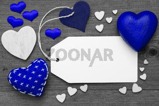 Label, Black And White, Blue Hearts, Copy Space