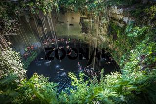 Ik Kil cenote, Yucatan popular landmark, Mexico