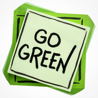 go green concept on sticky note
