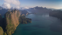 Aerial view of beautiful mountains and lake