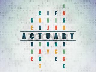 Insurance concept: Actuary in Crossword Puzzle