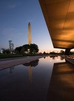 Reflection of Washington in reflecting pool at sunset