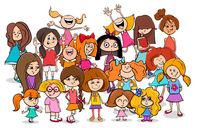 kid or teen cartoon girls characters group
