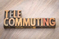 telecommuting word in wood type