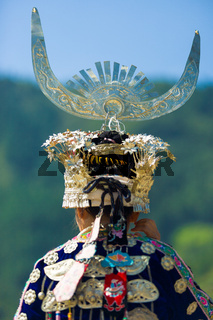 Miao Minority Woman Traditional Headdress Rear