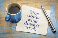 stop doing what does not work - napkin concept